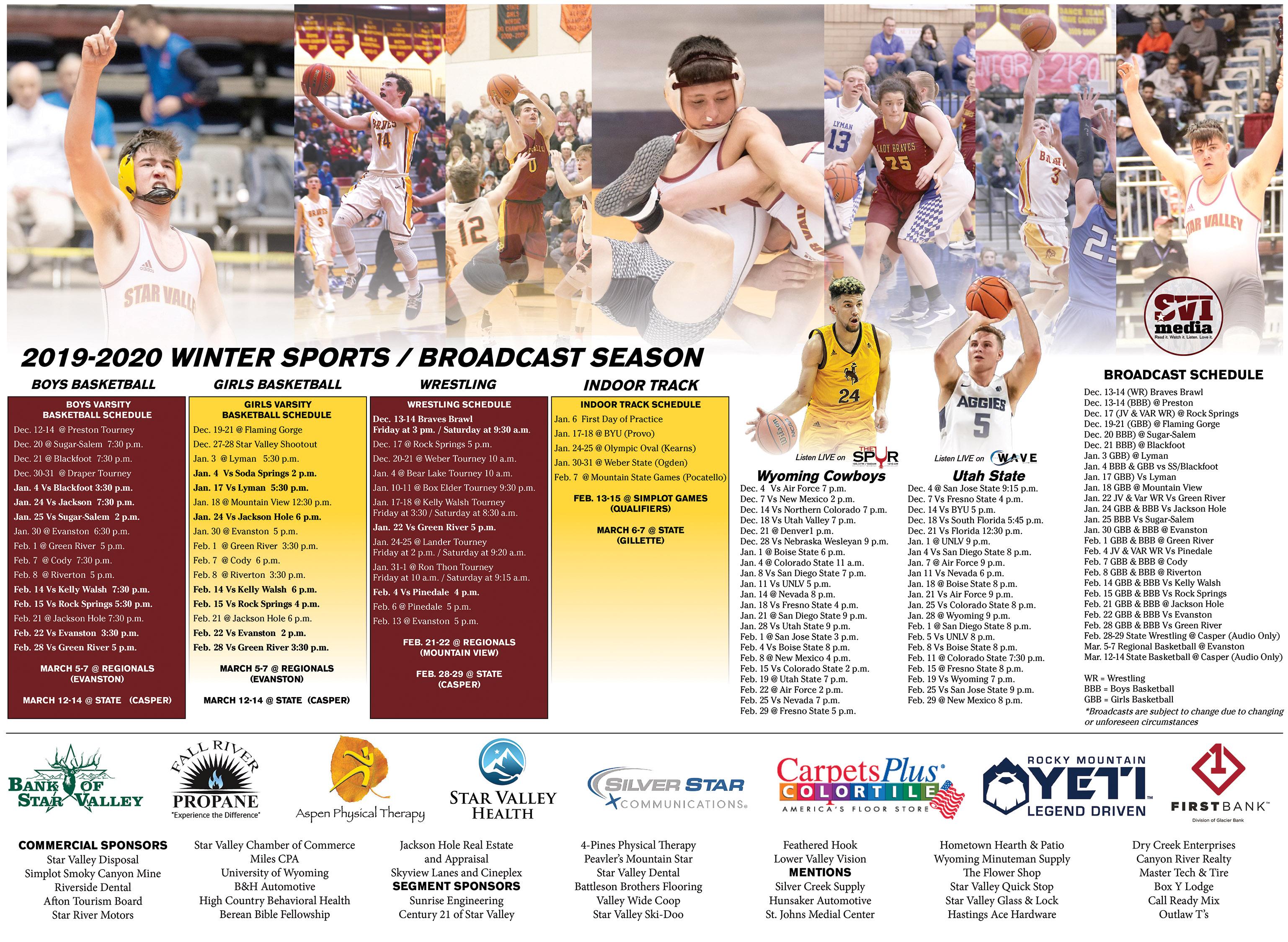 Star Valley High School SVI Media Winter Sports Schedule