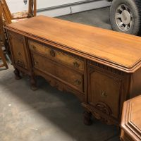 Antique Wood Table, Chairs and Buffet