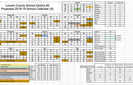 LCSD2 Releases Proposed 2018-19 School Calendars