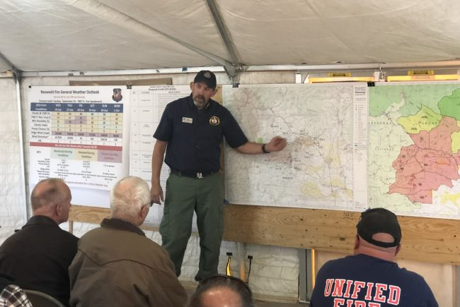 Governor Mead briefed on site of Roosevelt Fire in Bondurant.